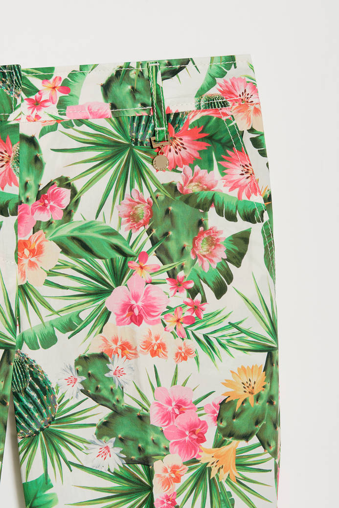 Tropical patterned trousers - white pattern - pennyblack