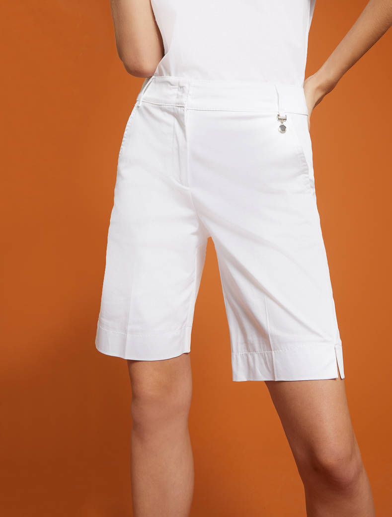 Cotton satin Bermuda shorts - white - pennyblack