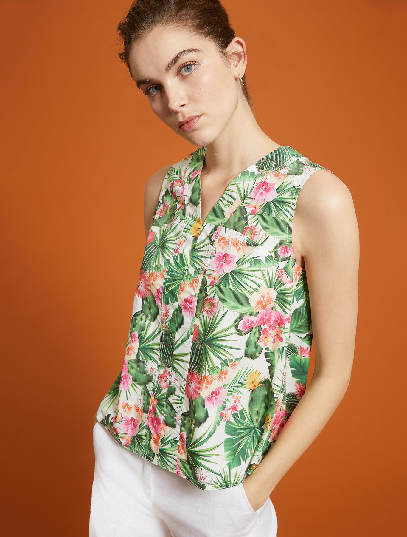 Tropical-pattern top - white pattern - pennyblack