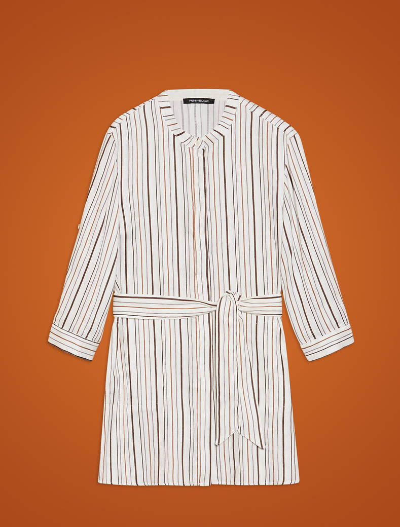 Striped linen-cotton tunic - ivory pattern - pennyblack