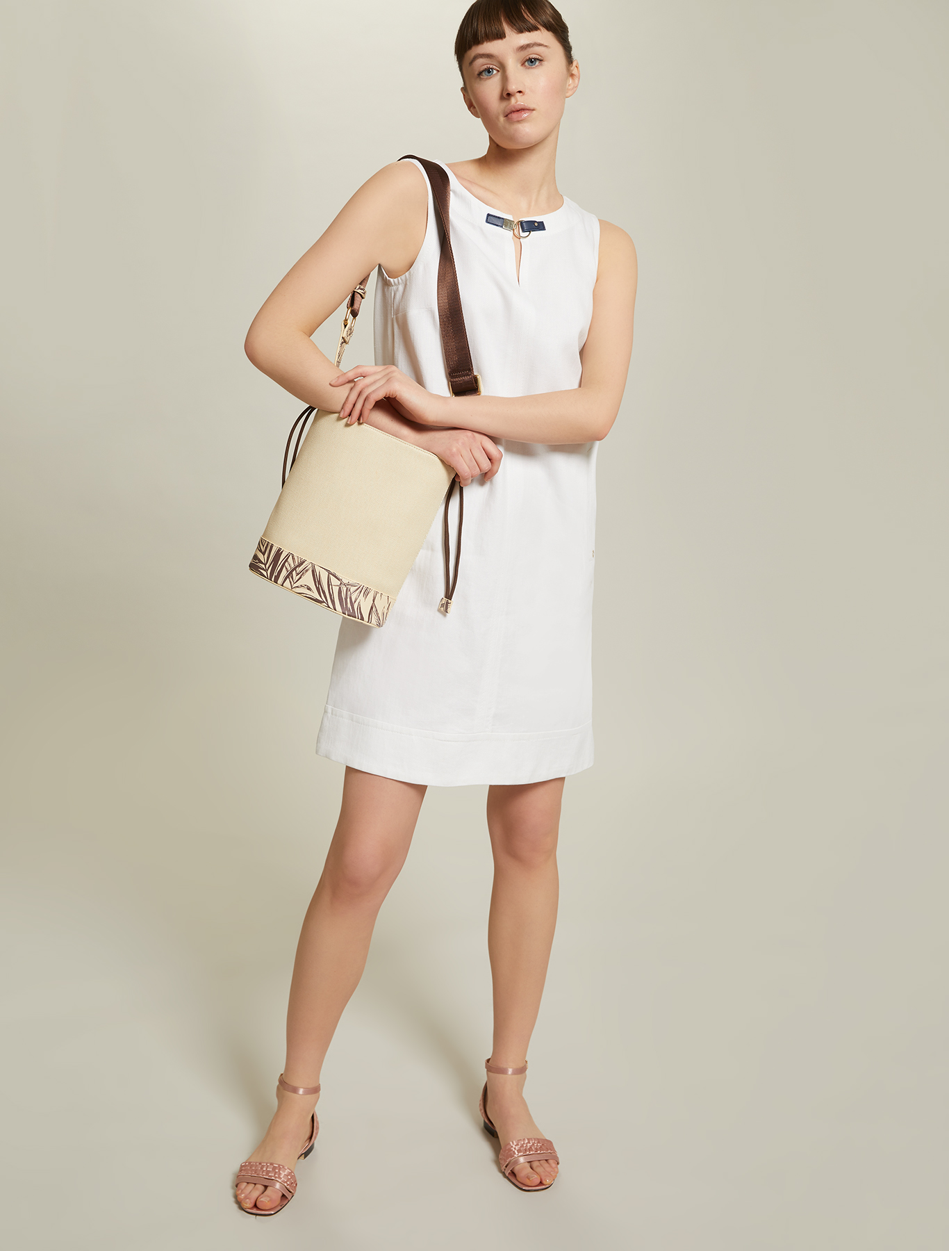 Linen and cotton basketweave dress - white - pennyblack