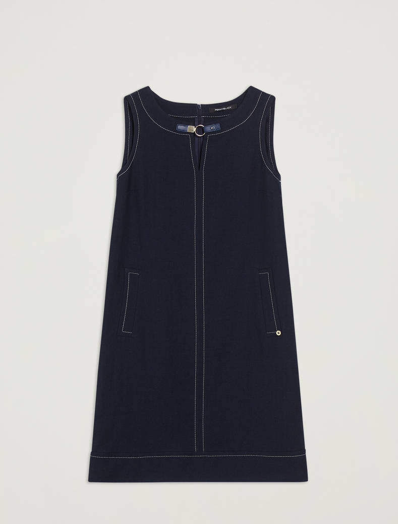 Linen and cotton basketweave dress - navy blue - pennyblack