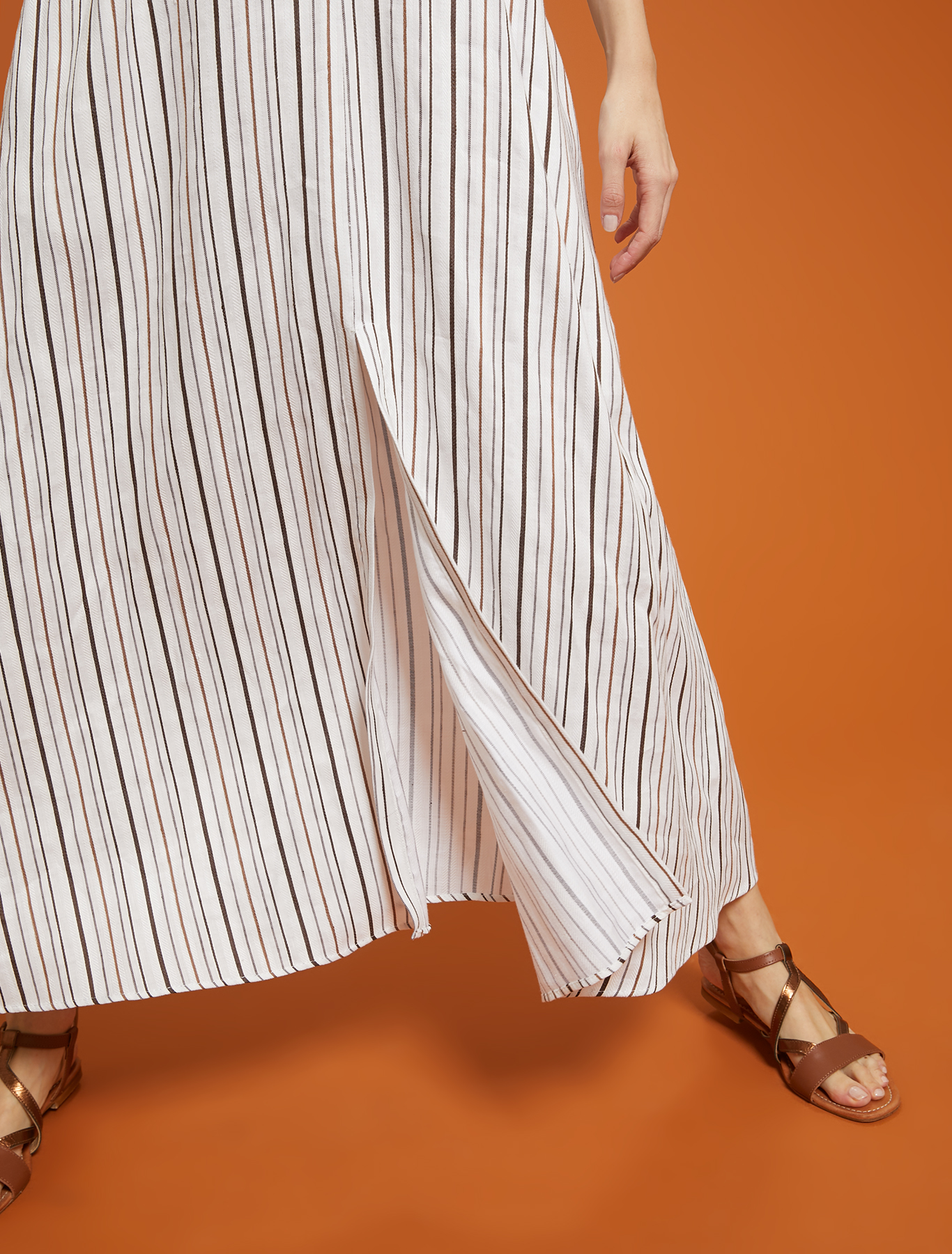 Striped linen-cotton dress - ivory pattern - pennyblack