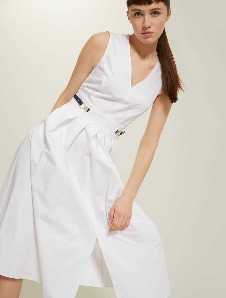 Cotton satin dress - white - pennyblack