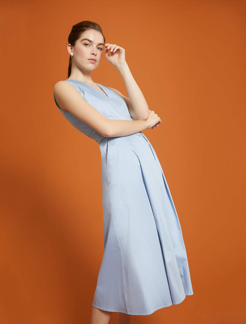 Cotton satin dress - light blue - pennyblack