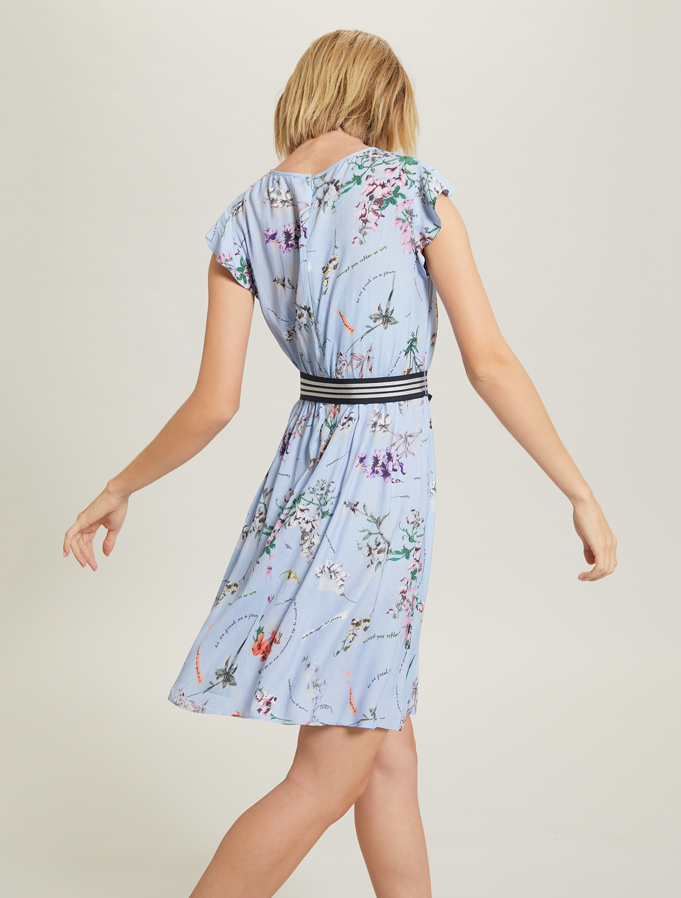 Plant-print dress - light blue pattern - pennyblack