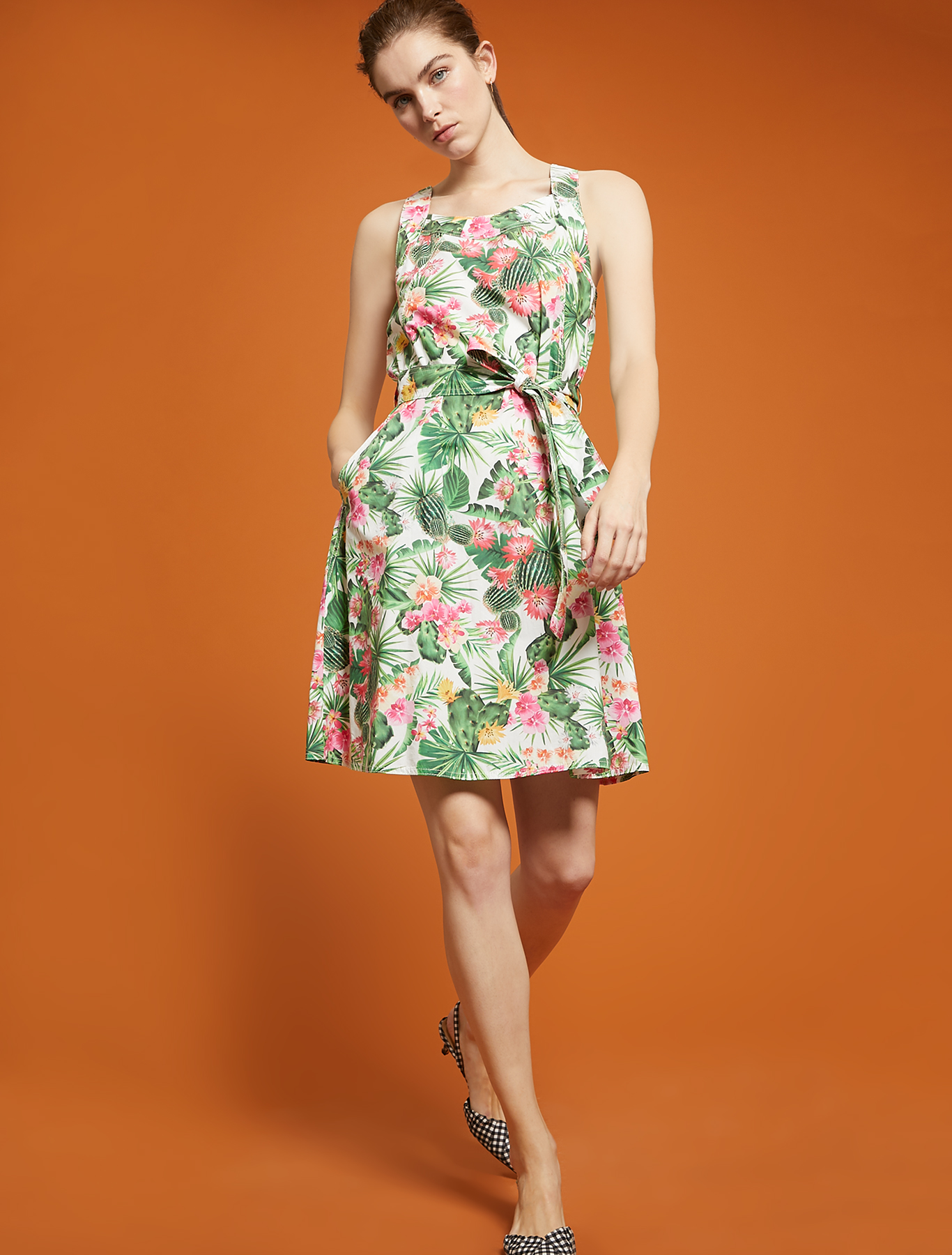 Tropical-pattern dress - white pattern - pennyblack