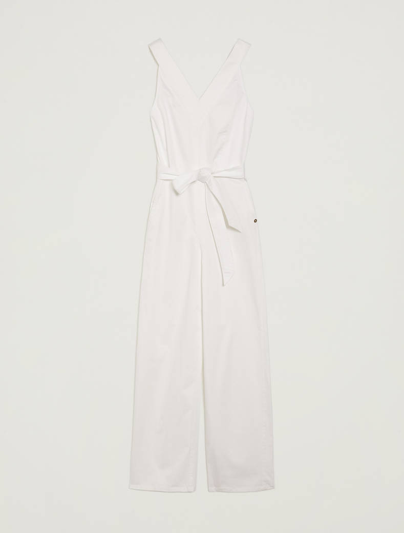 Cotton satin jumpsuit - white - pennyblack