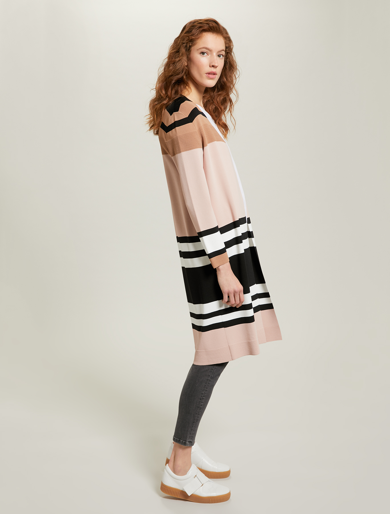 Colour block cardigan - rose pink pattern - pennyblack