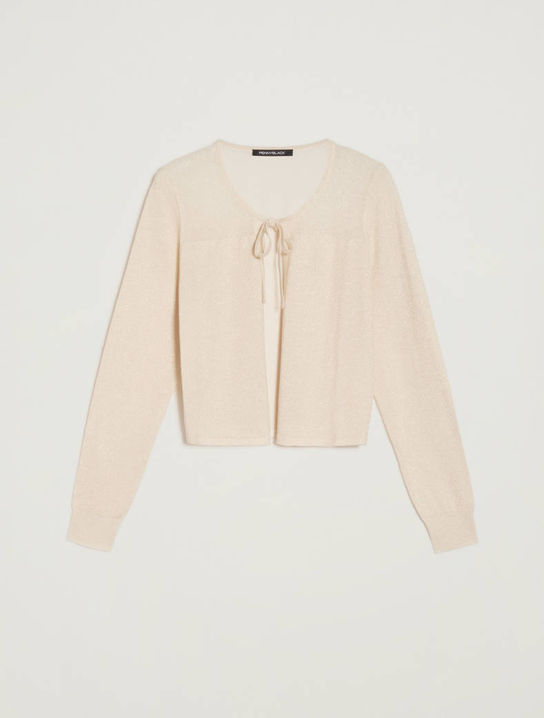 Lamé tricot cardigan - gold - pennyblack