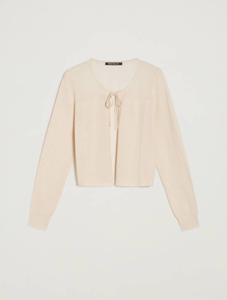 Cardigan in tricot lamé - oro - pennyblack