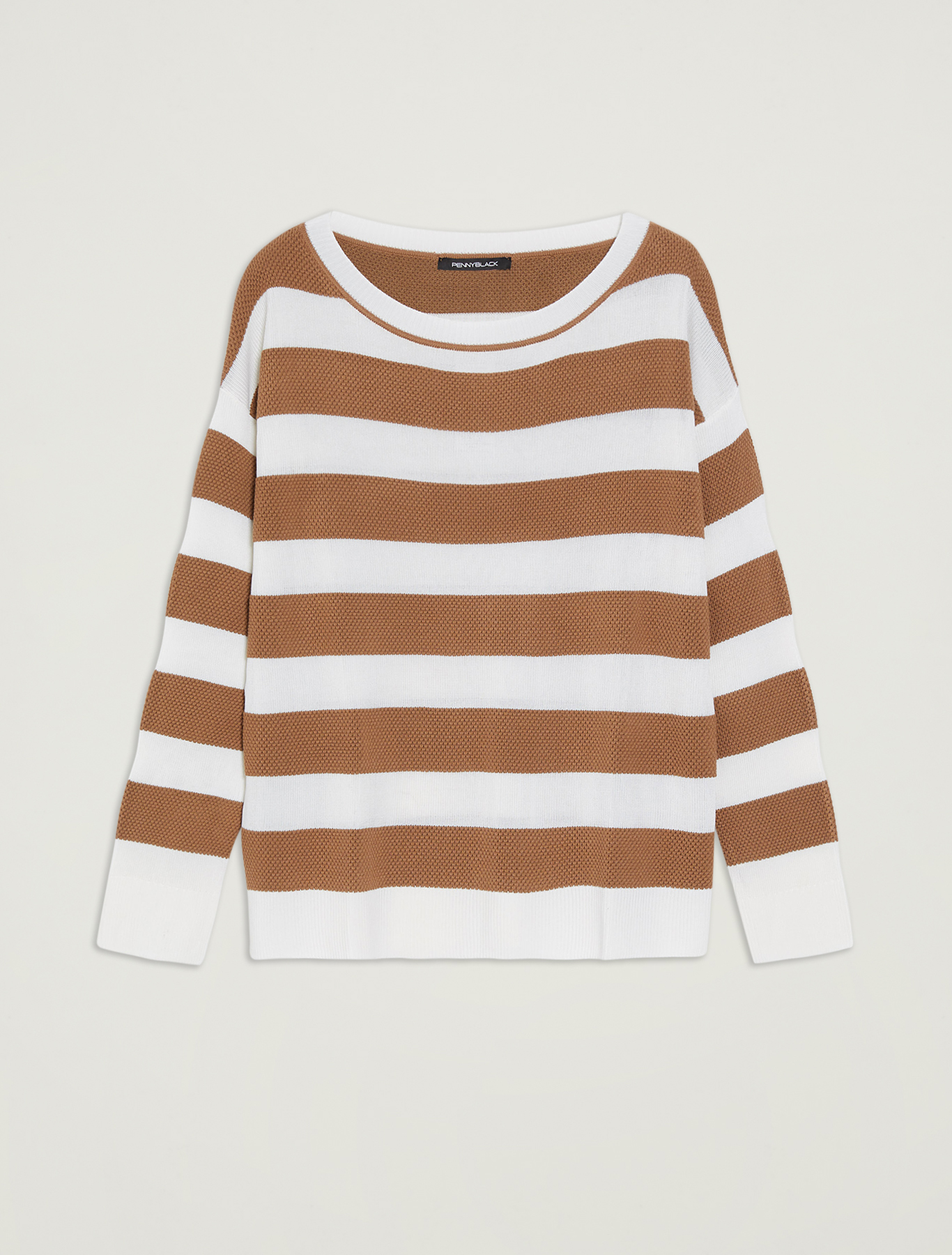 Sweater with maxi stripes - hazelnut - pennyblack