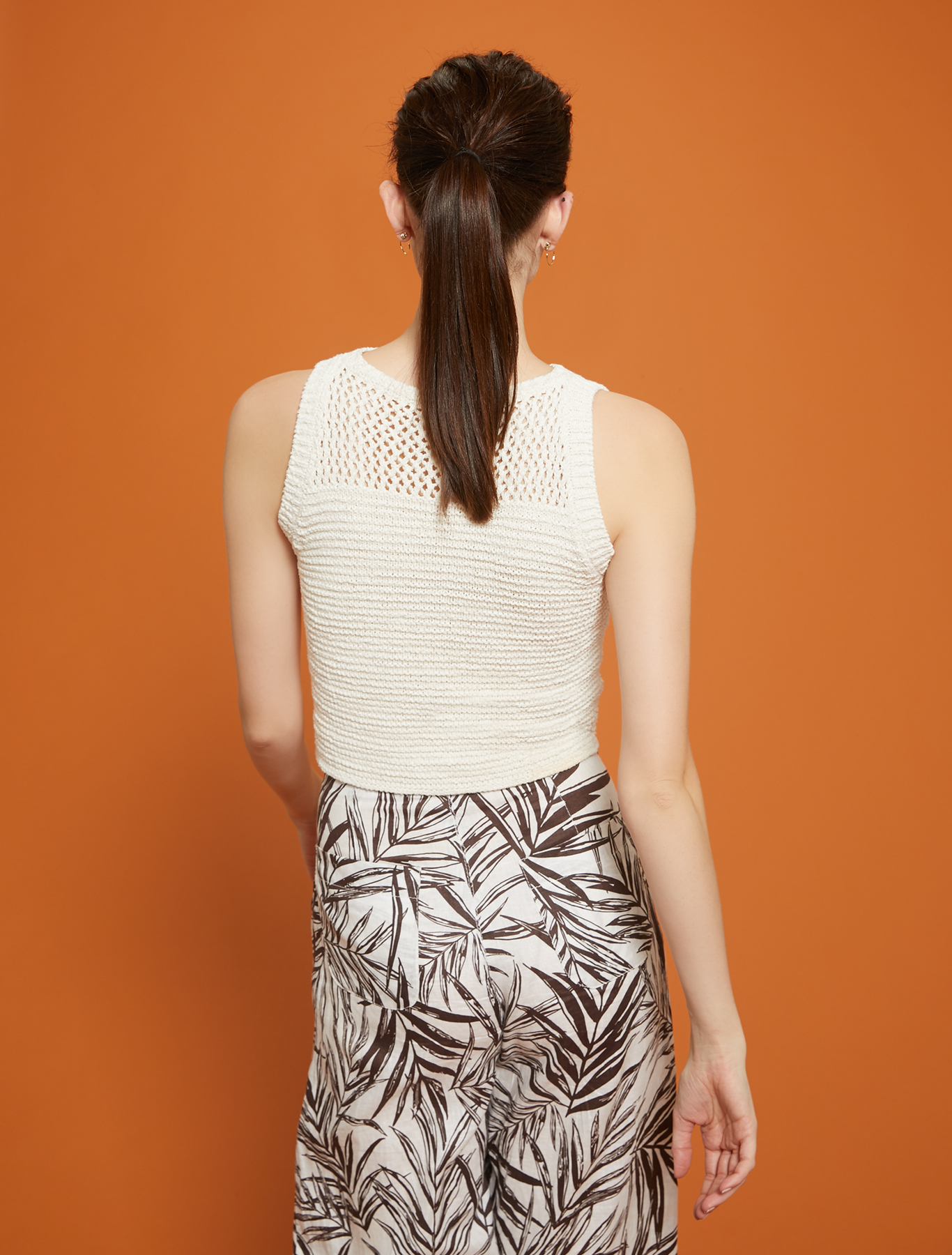 Knit top with mesh yoke - white - pennyblack
