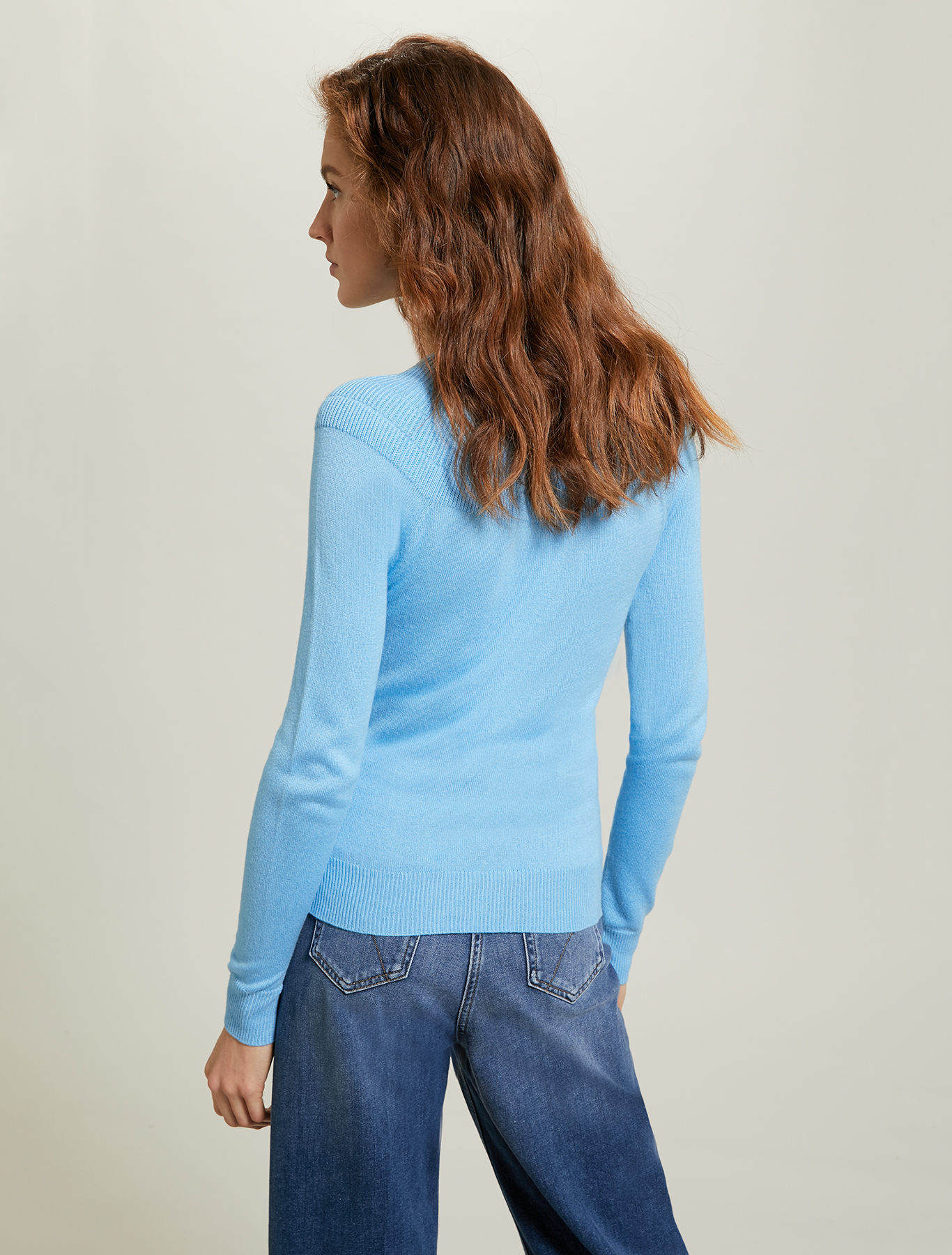 Jumper with ribbed yoke - turquoise - pennyblack