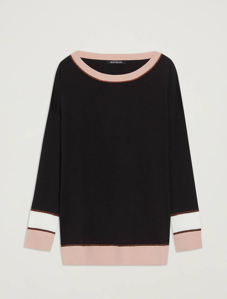 Cotton and silk jumper - black pattern - pennyblack