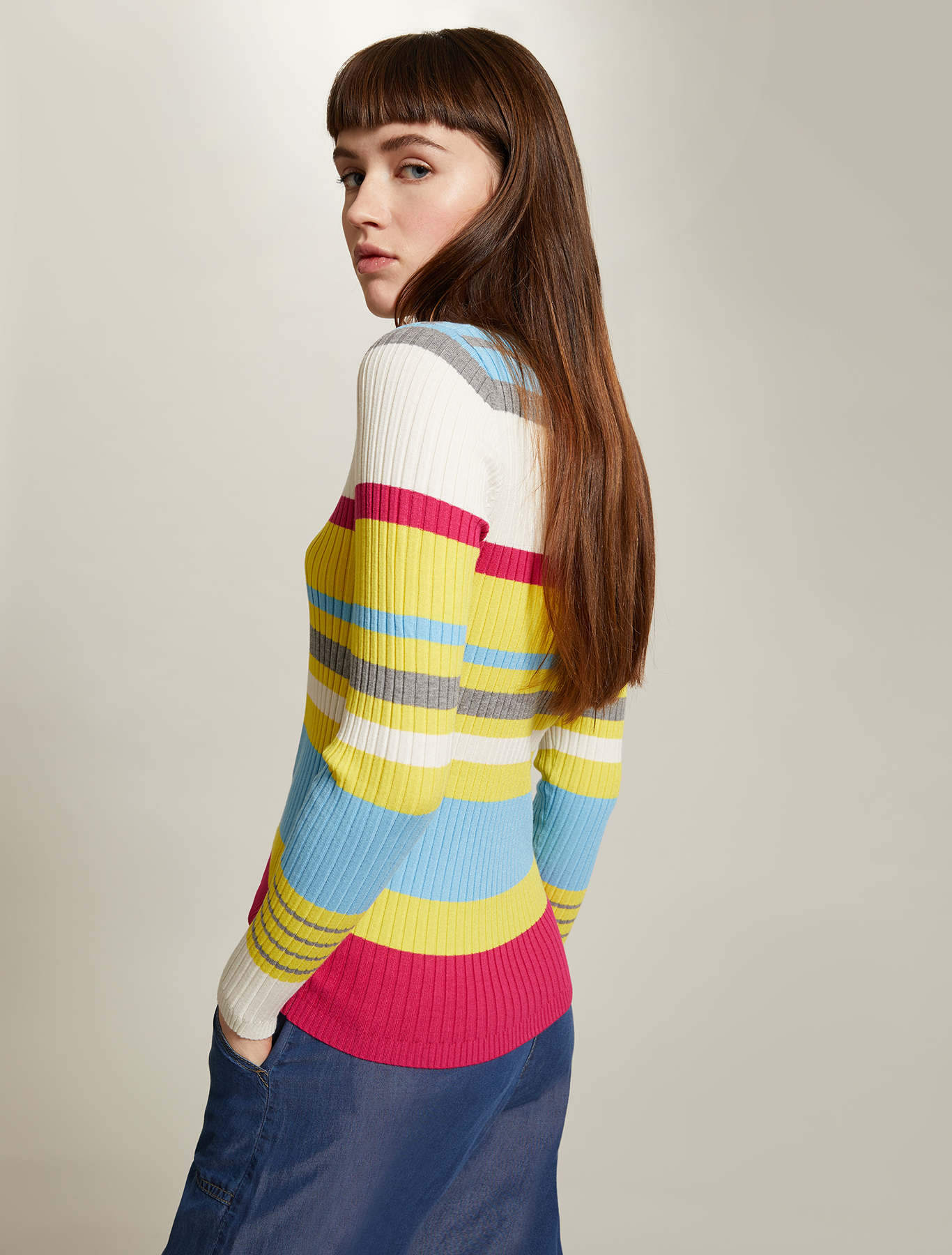 Multicoloured striped jumper - pale yellow pattern - pennyblack