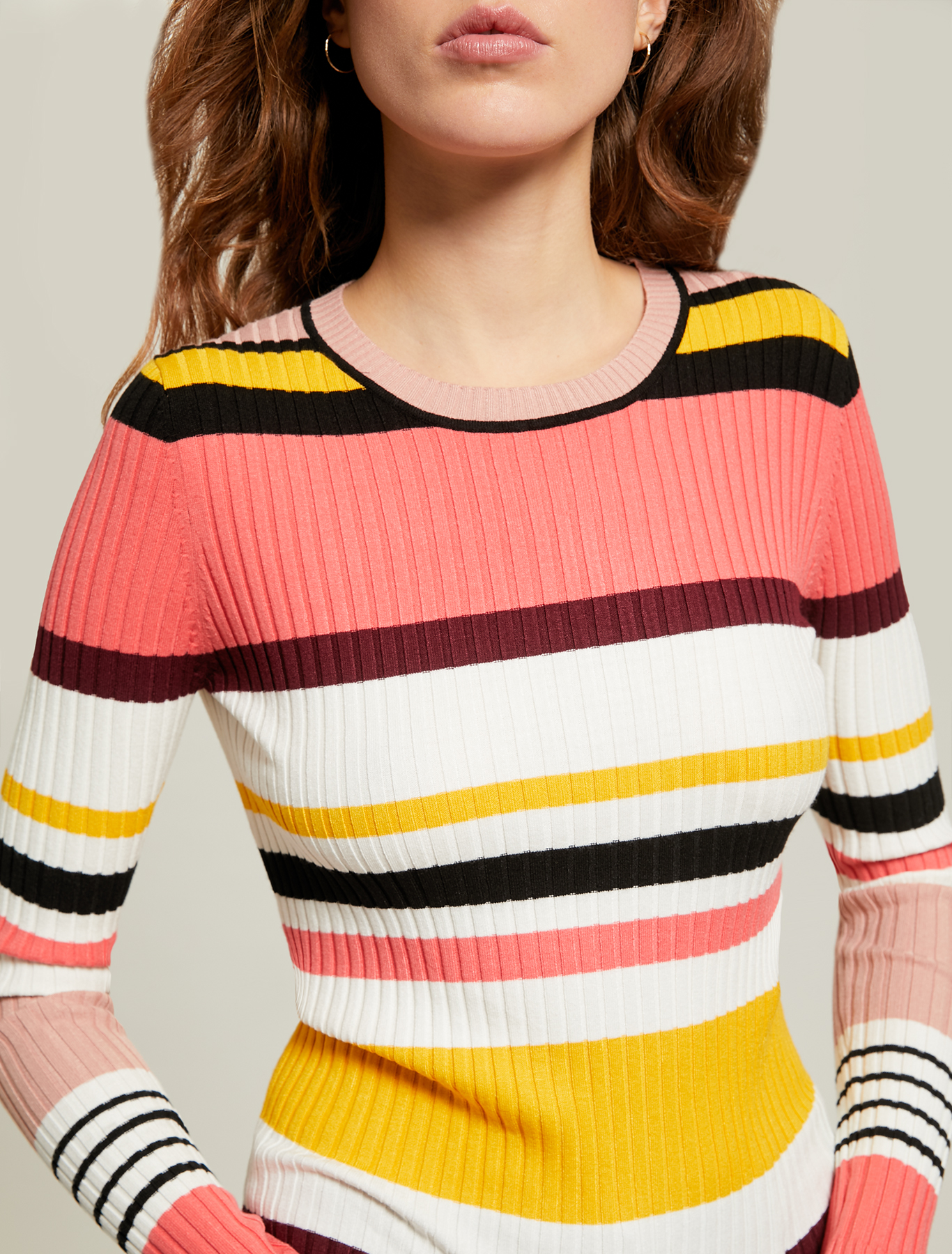 Multicoloured striped jumper - coral pattern - pennyblack