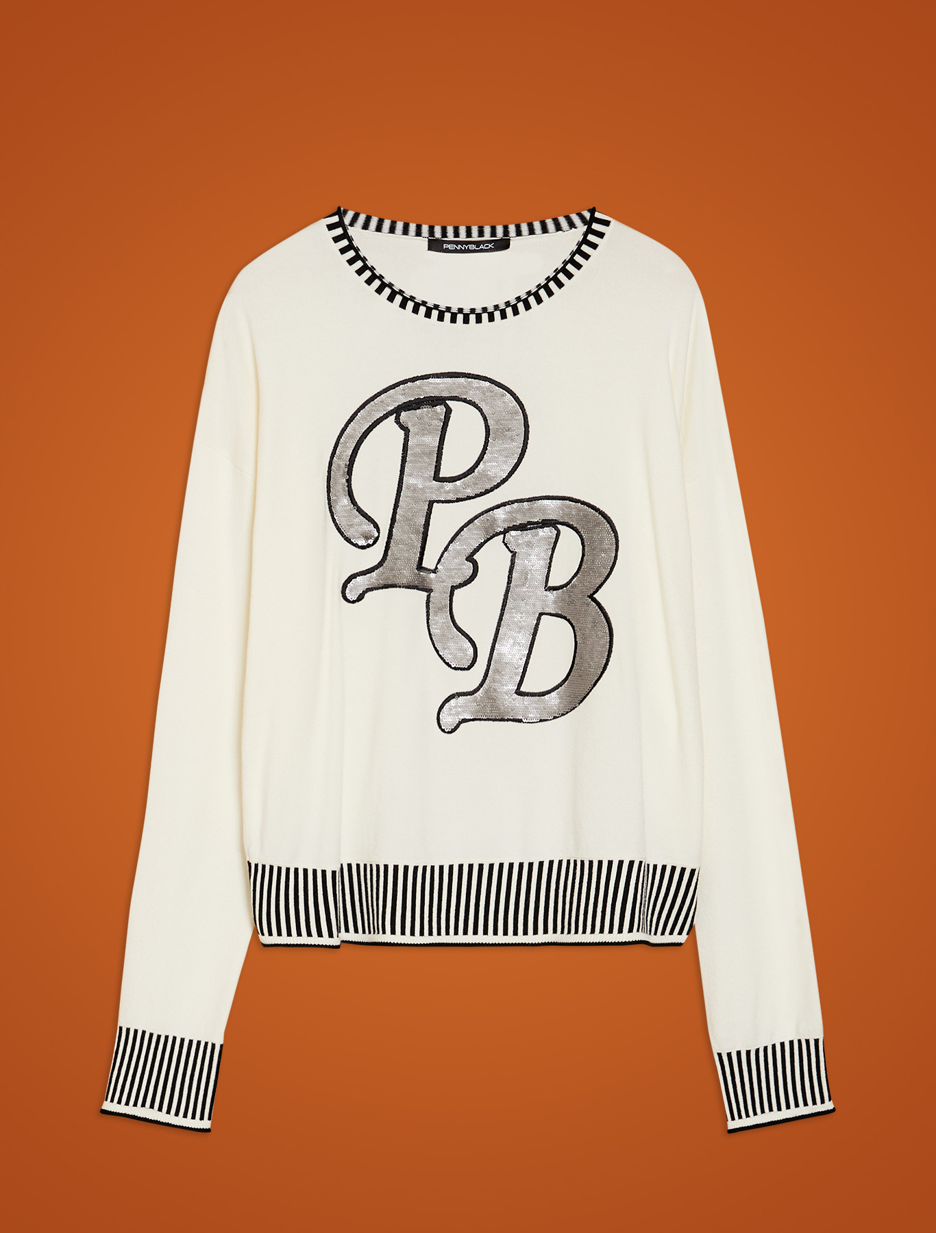 Jumper with sequin embroidery - ivory - pennyblack