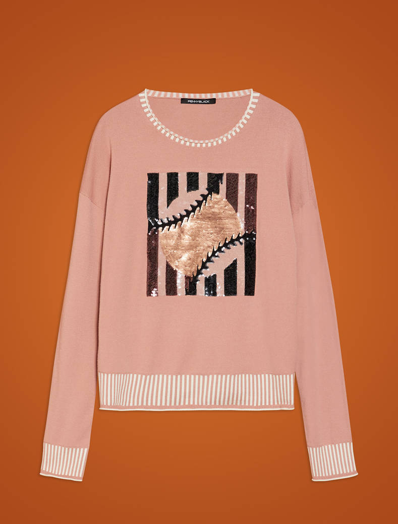 Jumper with sequin embroidery - powder pink - pennyblack