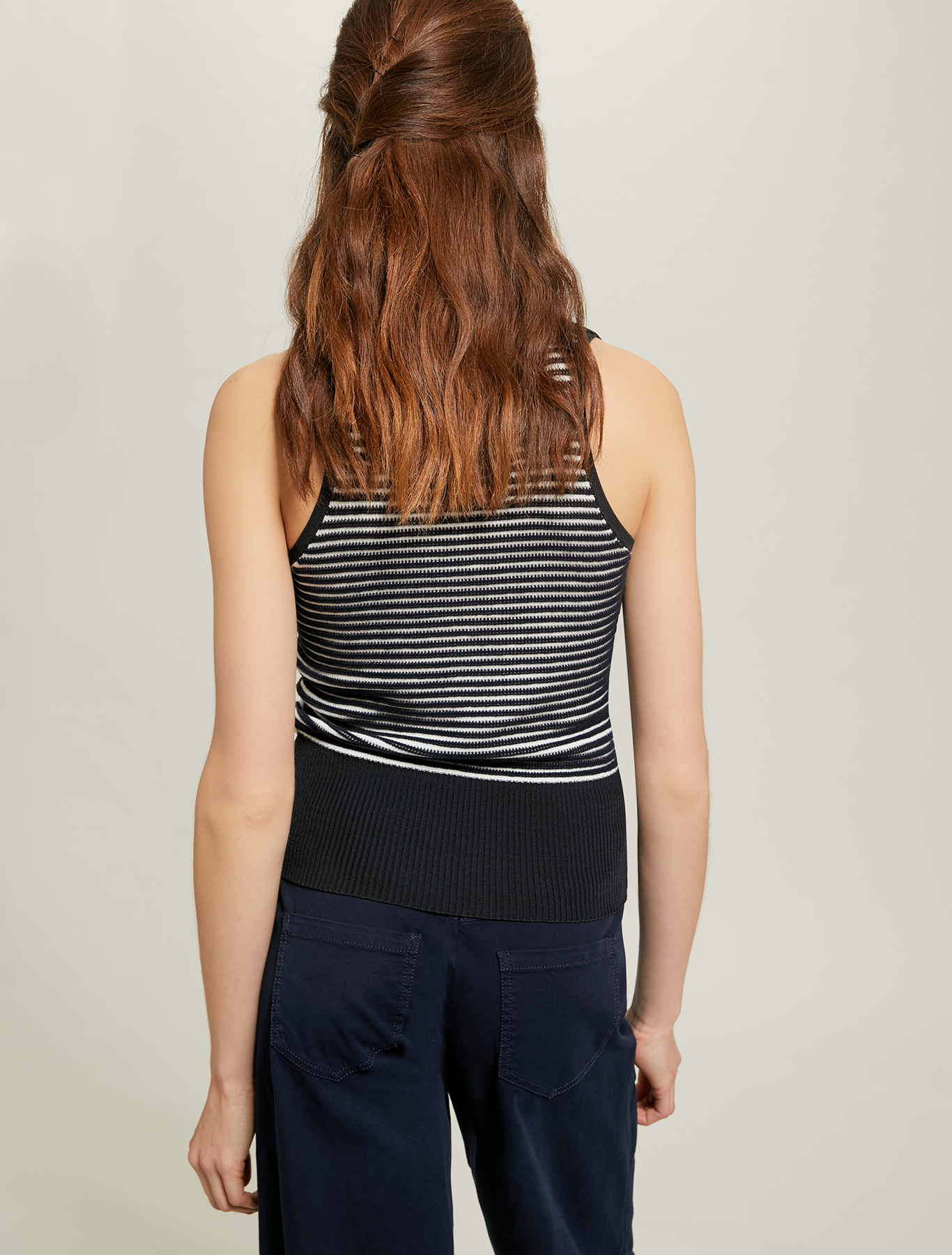 3D striped knit top - midnight blue pattern - pennyblack