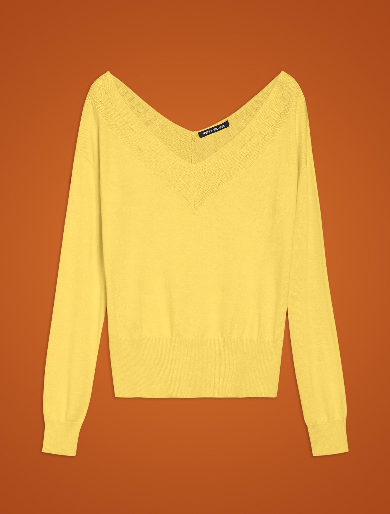 V neck jumper - lemon - pennyblack