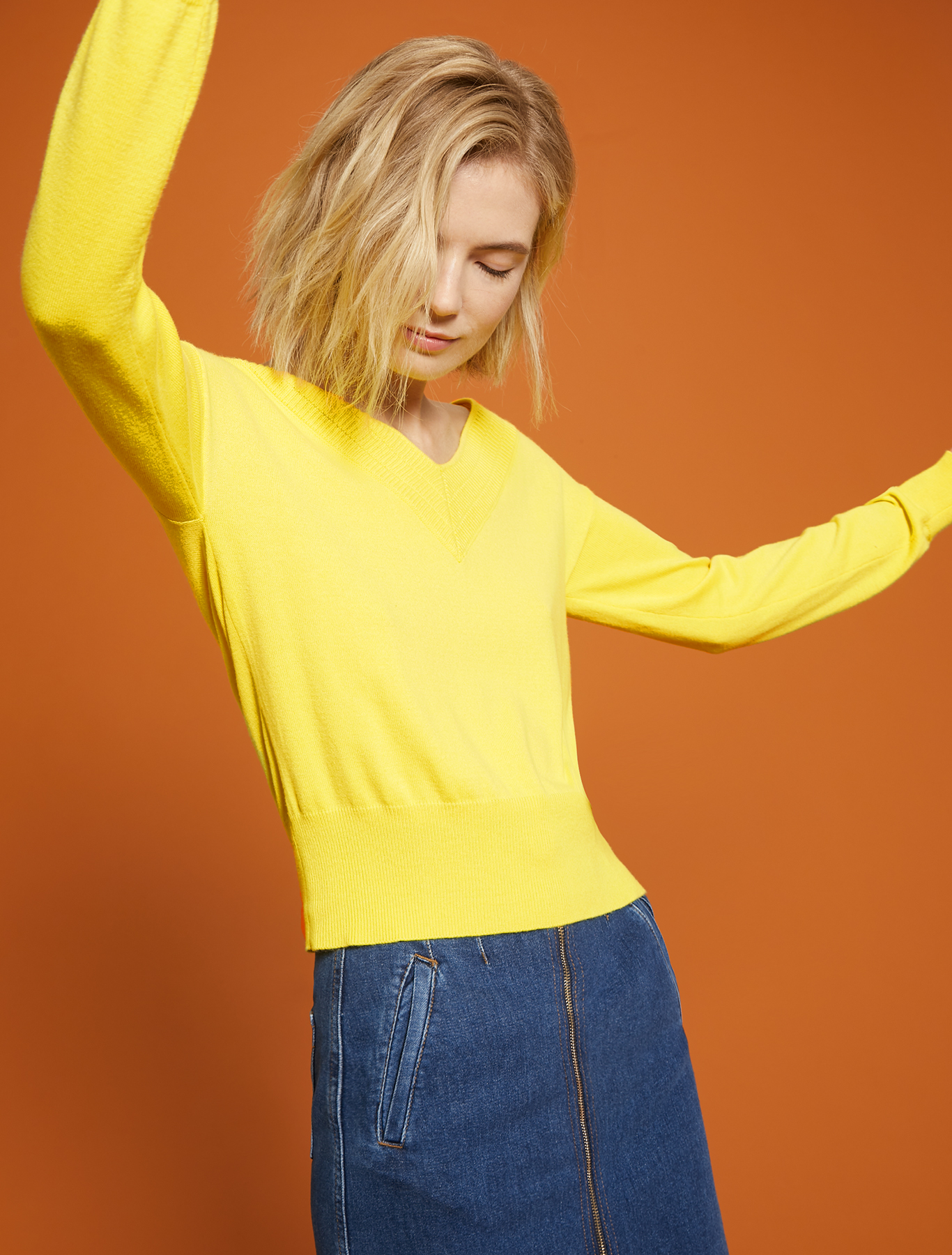 V neck jumper - lemon - pennyblack