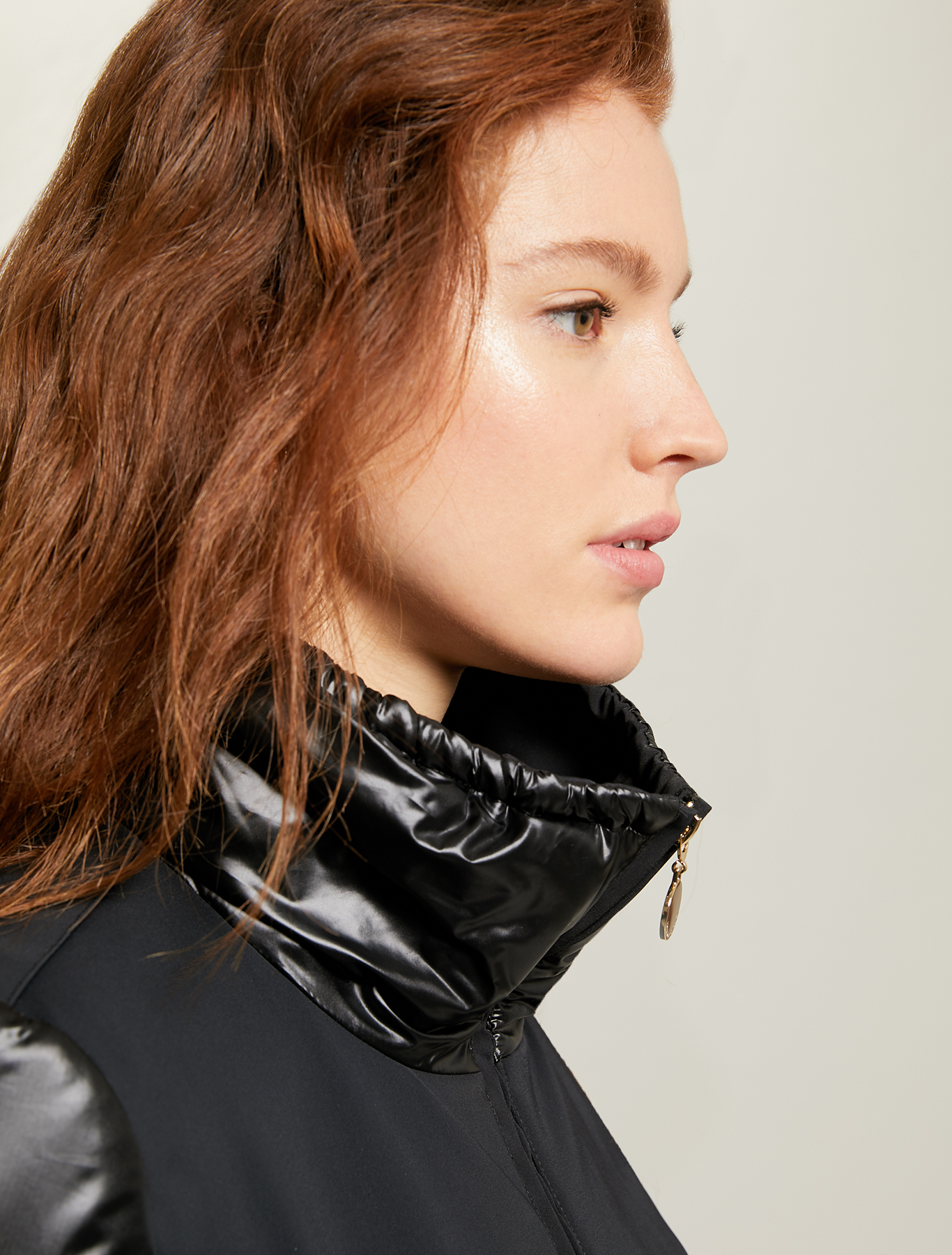 Glossy-matt padded jacket - black - pennyblack