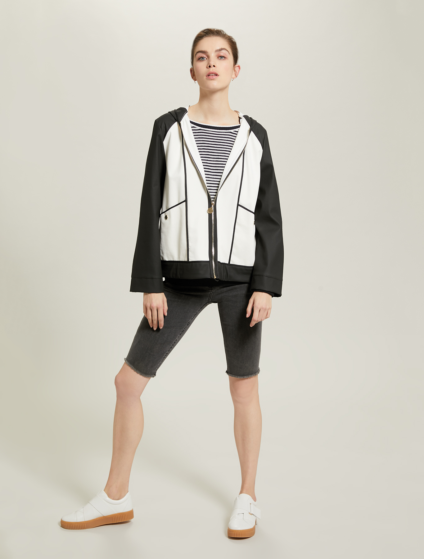 Rubberised jersey bomber jacket - white pattern - pennyblack
