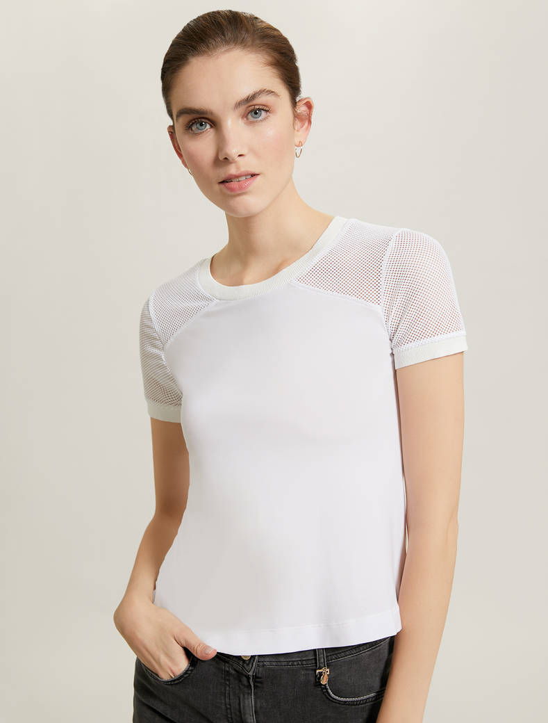 T-shirt with technical mesh inserts - white - pennyblack