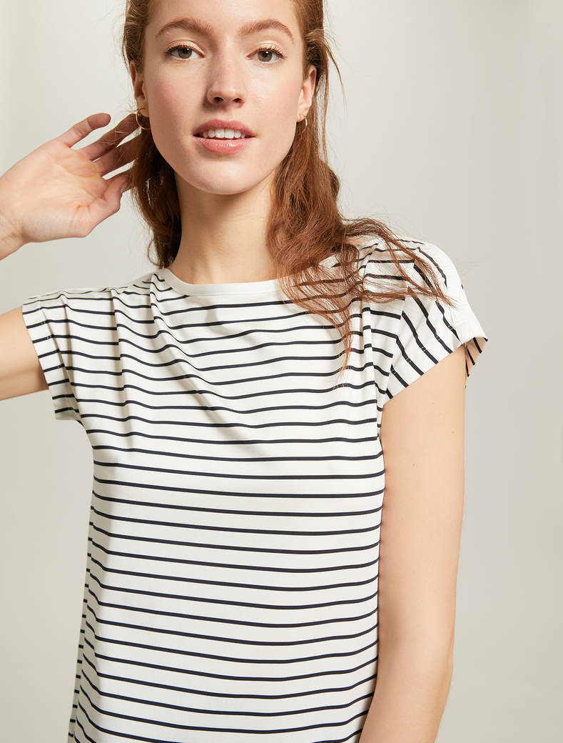 Flowing marinière T-shirt - navy blue pattern - pennyblack