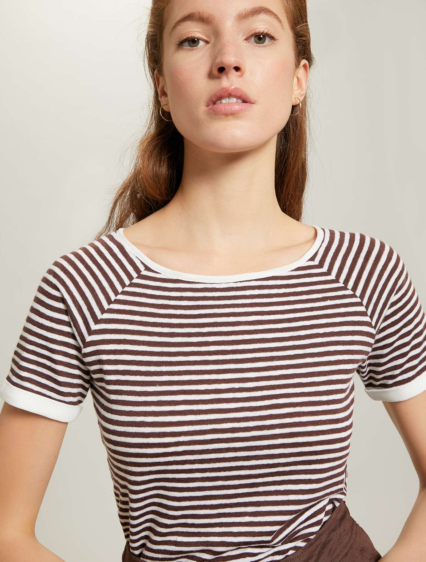 Linen jersey T-shirt - dark brown pattern - pennyblack