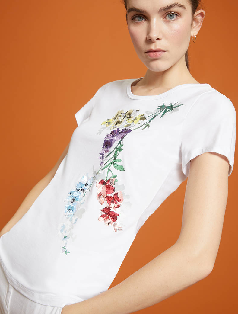 T-shirt con ramages floreali - bianco - pennyblack