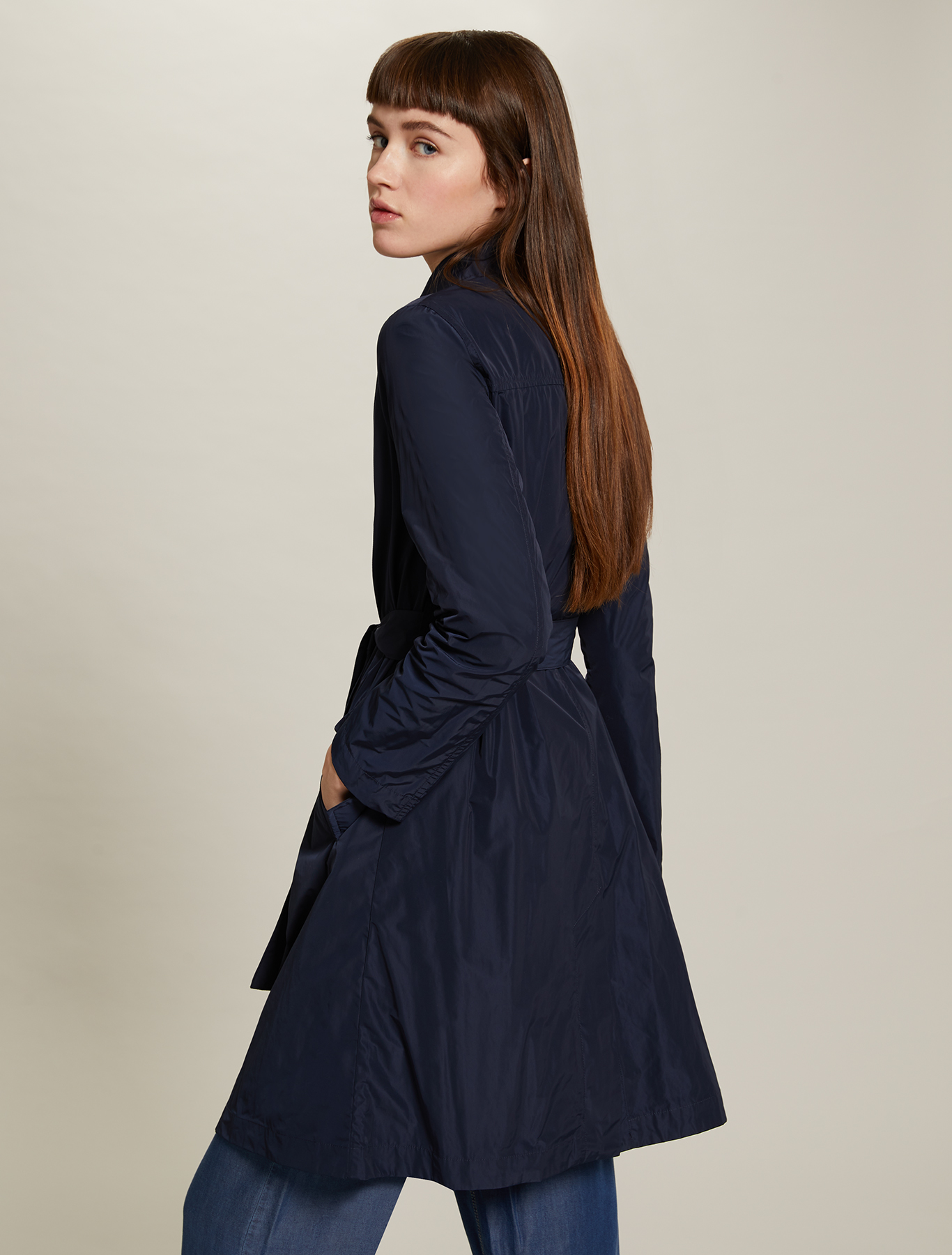 Double-breasted trench coat with belt - midnight blue - pennyblack