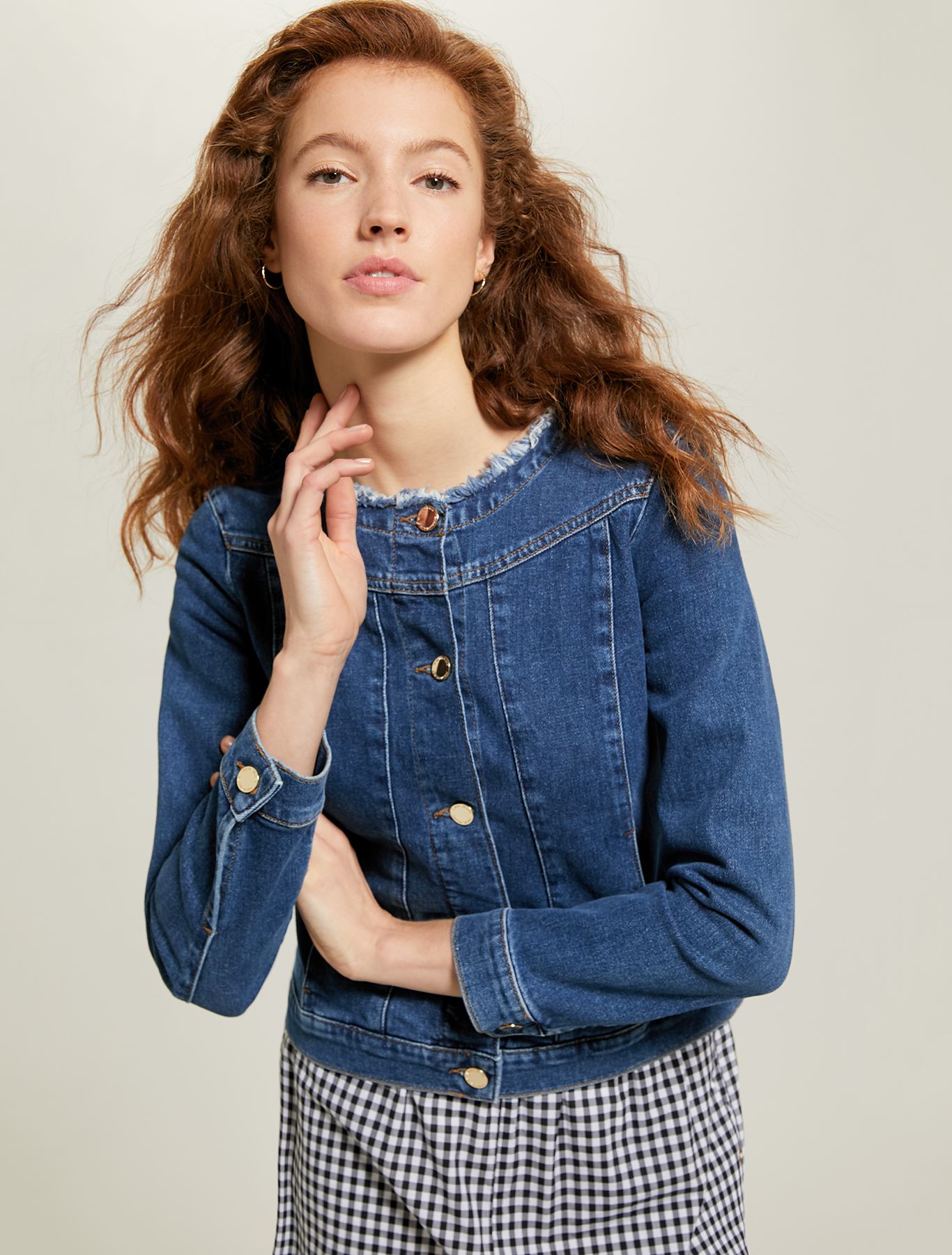 Denim round-neck jacket - midnight blue - pennyblack