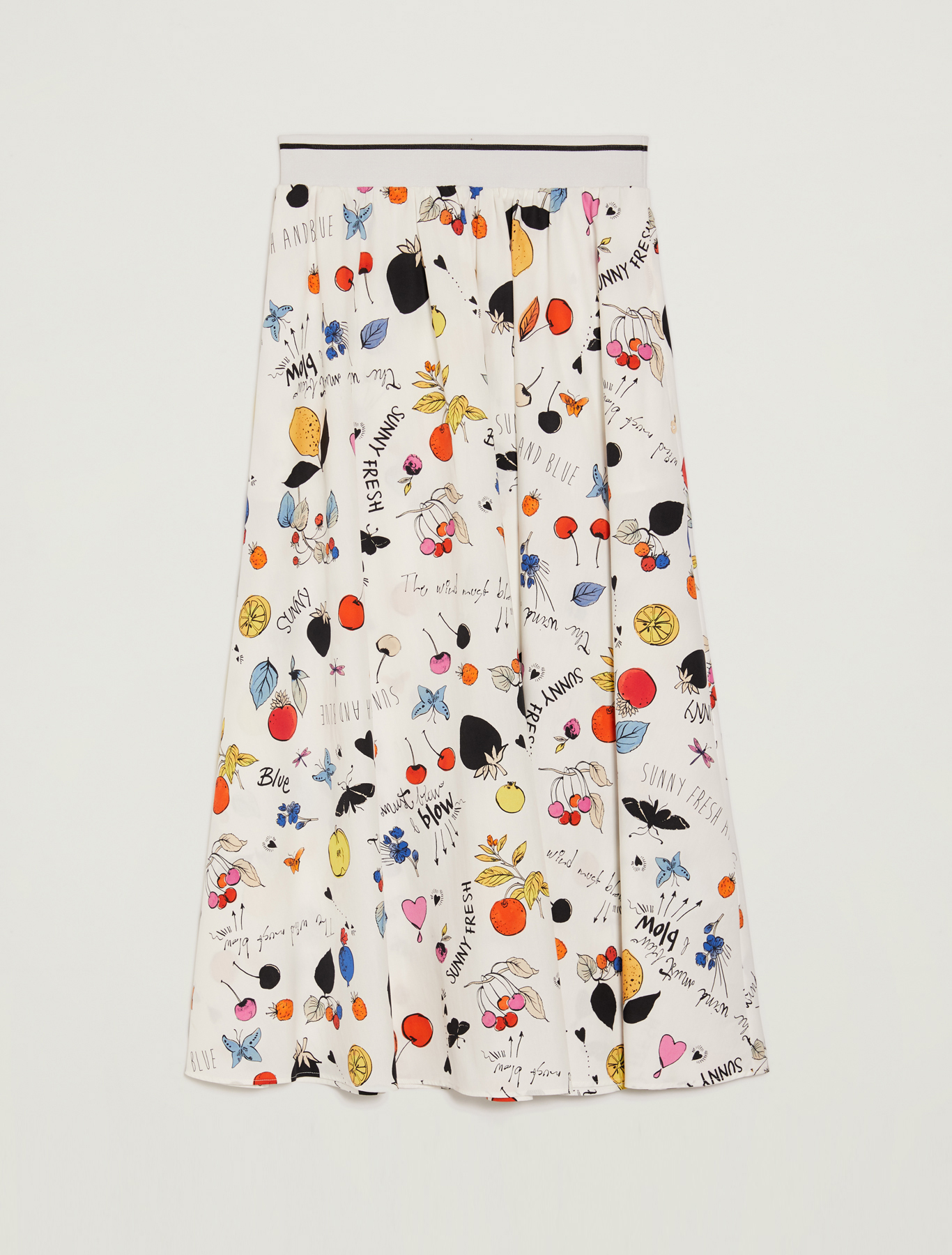 Printed cotton skirt - white pattern - pennyblack