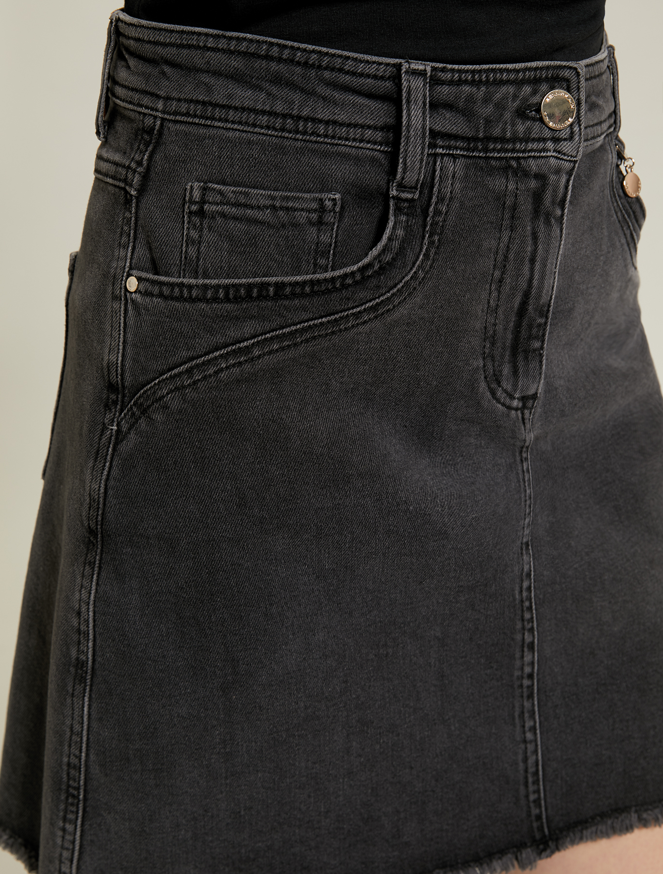 Five-pocket denim skirt - black - pennyblack