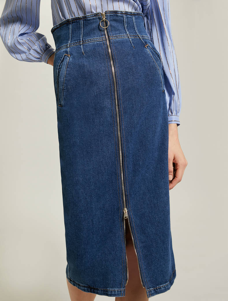 Gonna a matita in denim - blu notte - pennyblack