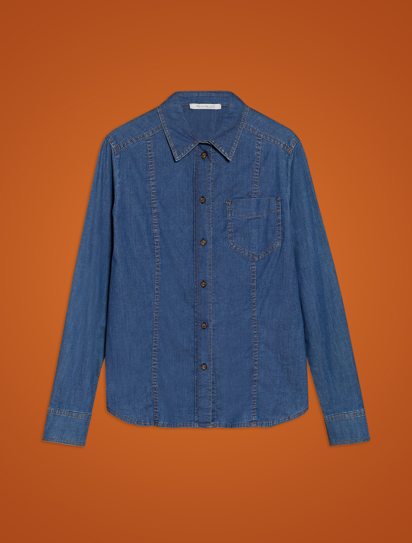 Lightweight denim shirt - navy blue - pennyblack