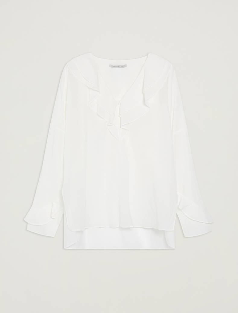 Muslin blouse with flounce - ivory - pennyblack