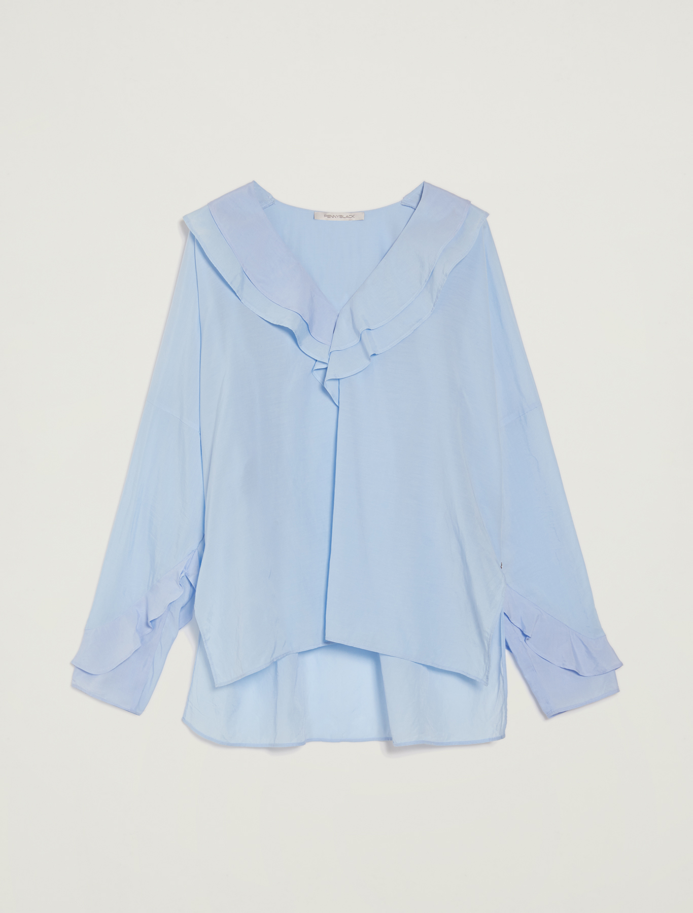 Muslin blouse with flounce - light blue - pennyblack