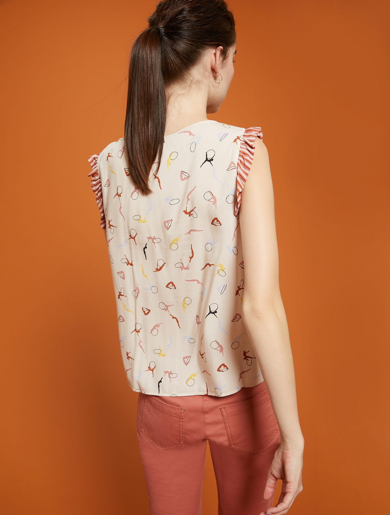 Blouse with ballerina print - rose pink pattern - pennyblack