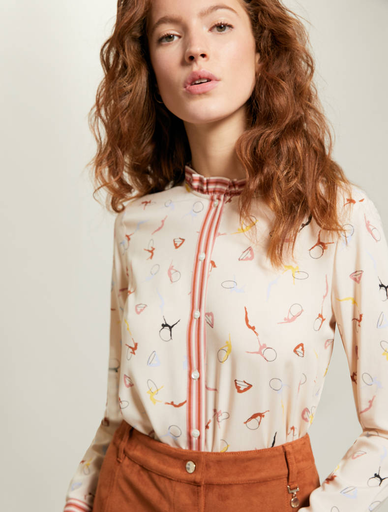 Shirt with ballerina print - rose pink pattern - pennyblack