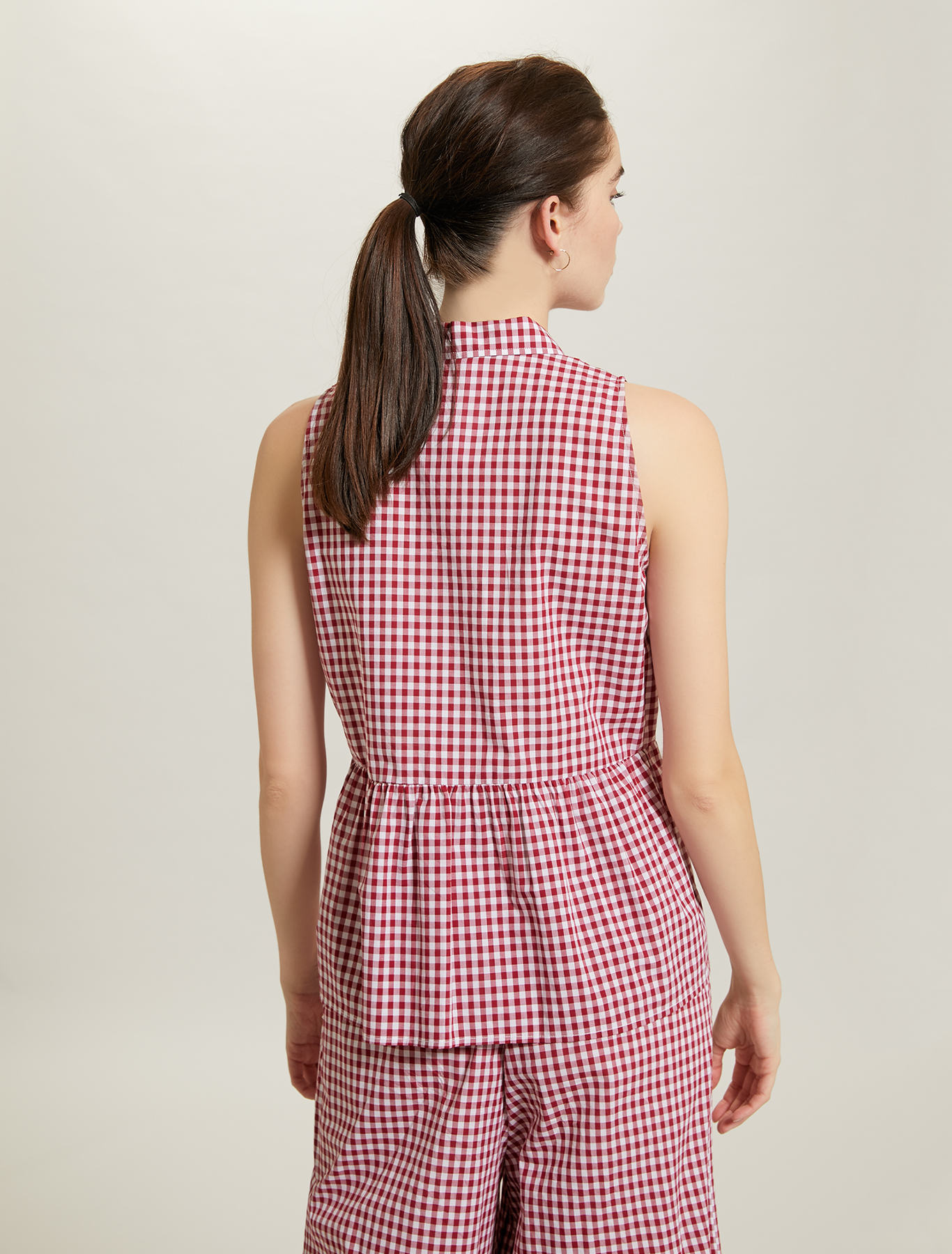 Gingham check top - fuchsia pattern - pennyblack