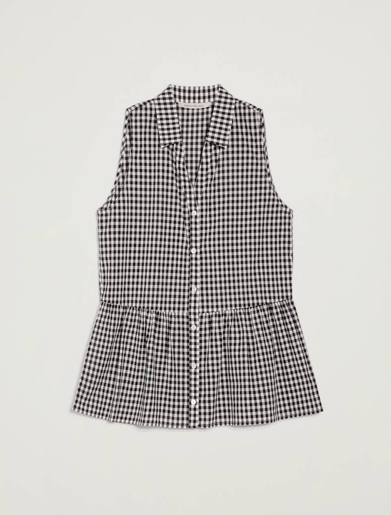 Gingham check top - white pattern - pennyblack