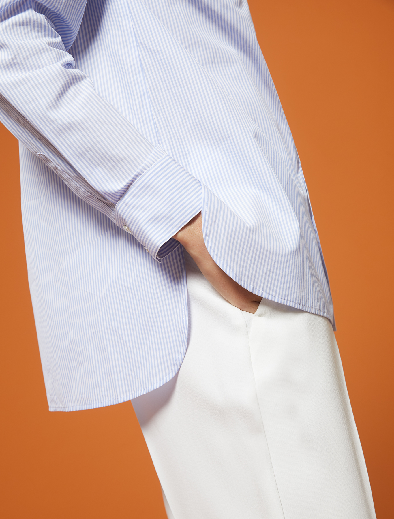 Striped poplin shirt - light blue pattern - pennyblack