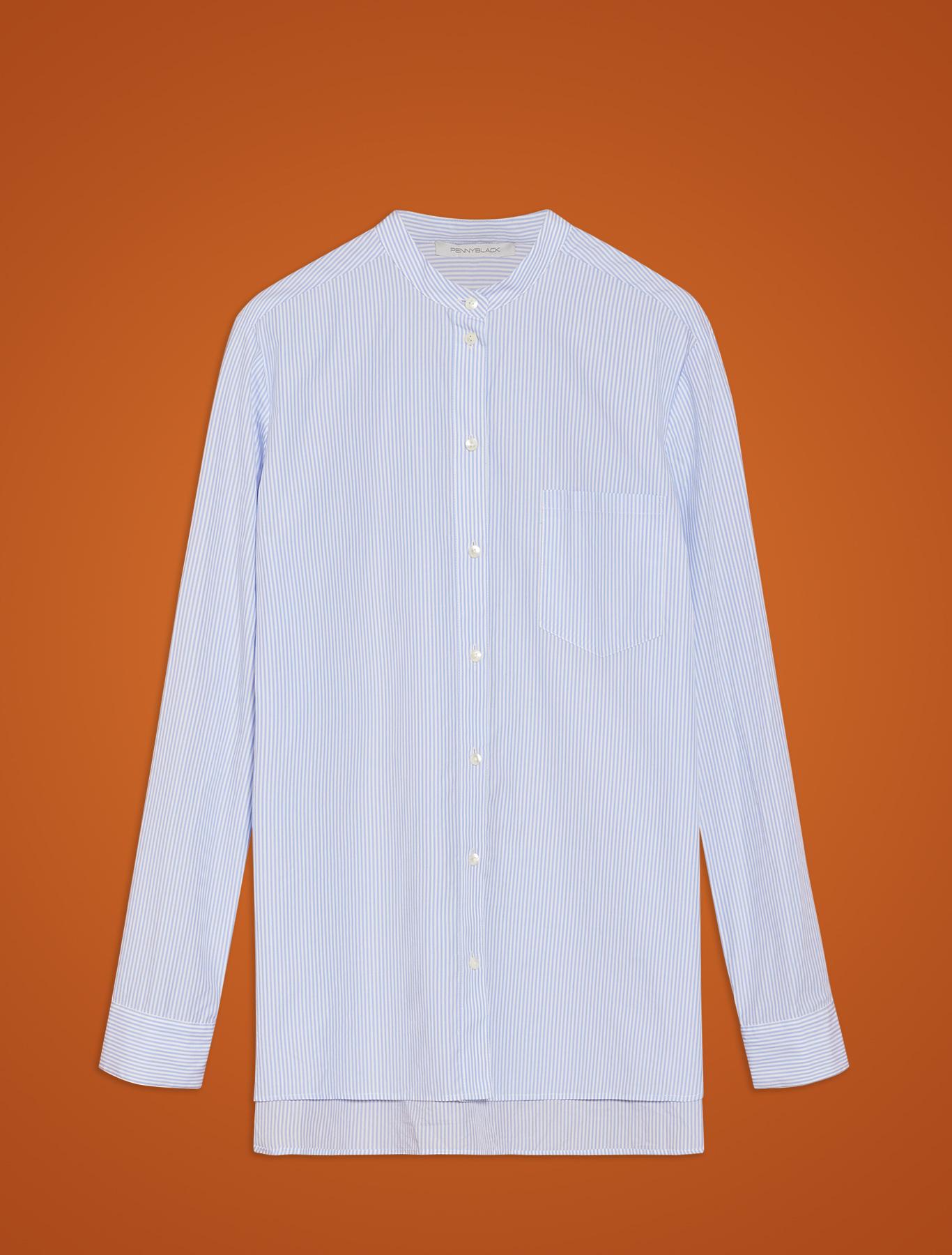 Striped poplin shirt - light blue pattern - pennyblack