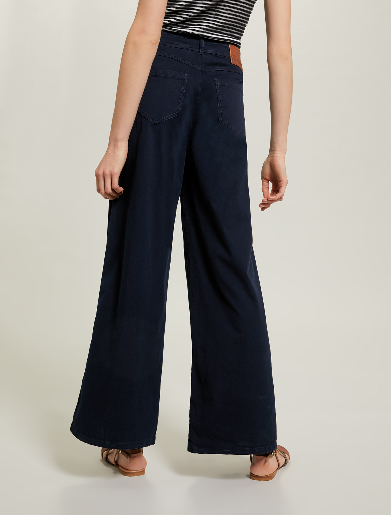 Wide trousers in piqué cotton - navy blue - pennyblack
