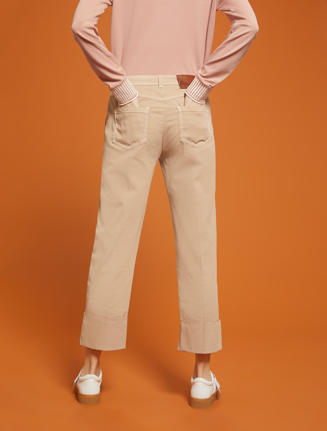 Piqué cotton trousers - beige - pennyblack