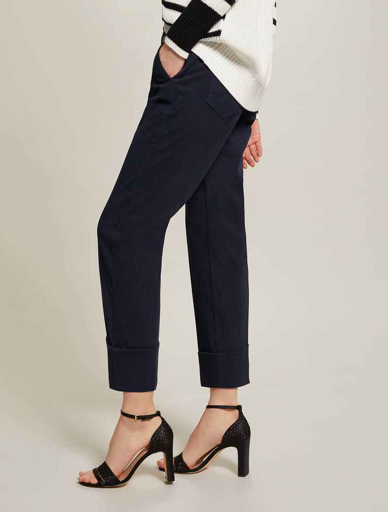 Piqué cotton trousers - navy blue - pennyblack