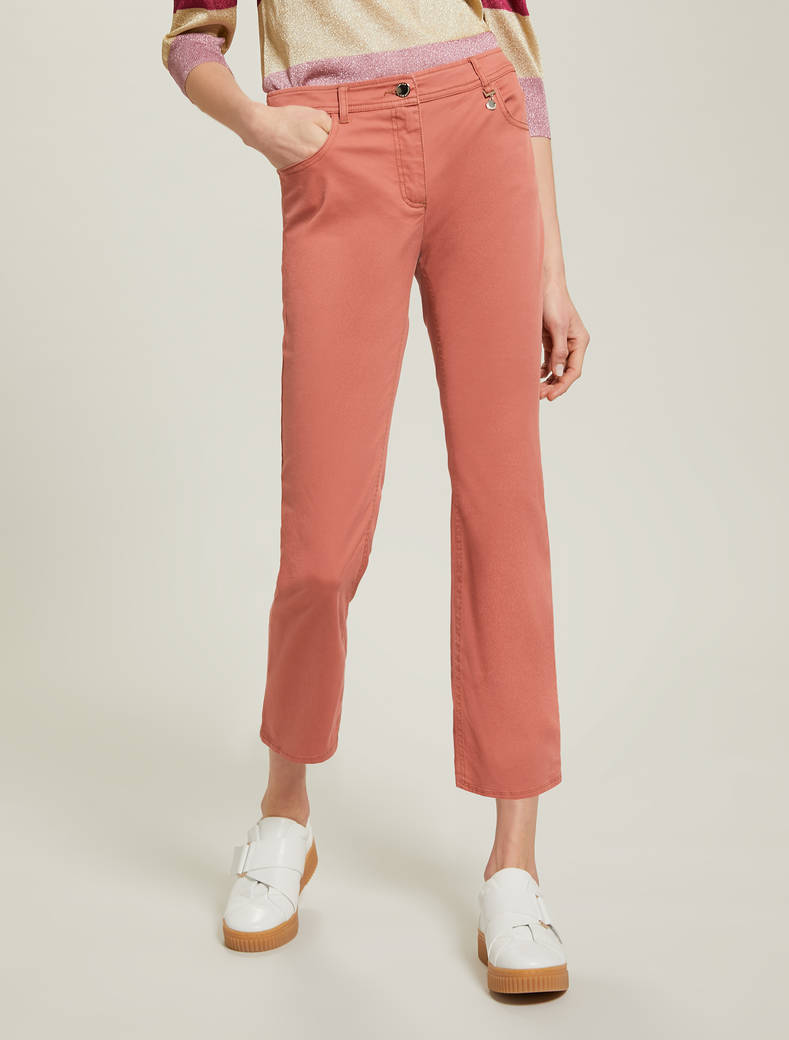 Cotton kick-flare trousers - old rose - pennyblack